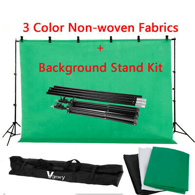 Photography Studio Backdrop Support Stand Screen 3 Non-woven Background Kit