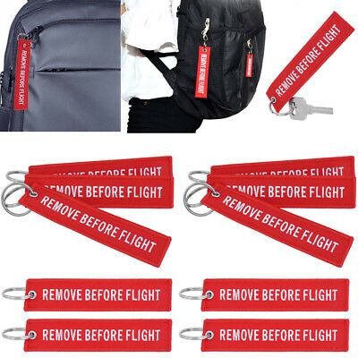 10x Red Remove Before Flight Embroidered Keychain Aviation Tags Luggage Key Ring