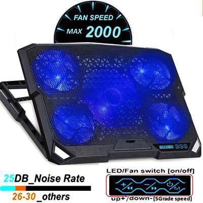 Laptop Cooling Pad Adjustable Stand Cooler Notebook 5 Fan Coolpad Mat 14-16