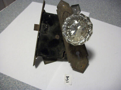 Vintage Antique Glass door knobs, face plates and lock set