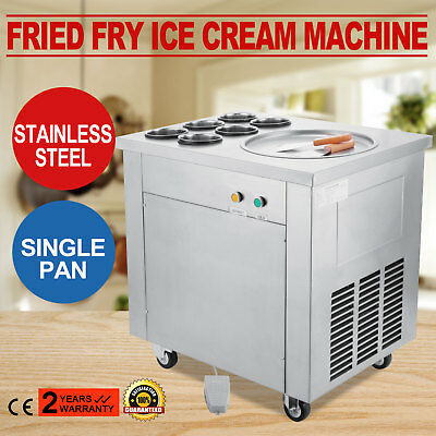Single Pan Fried Ice Cream Machine Defrost Fry Roll Making 304 Stainless Steel