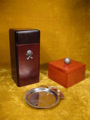 Vintage Golf Cigar Set: Humidor, Ash Tray and Lighter