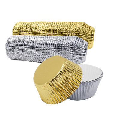 100pc Aluminium Foil Cake Baking Cups Liners Paper Cupcake Wrappers Muffin Boxes