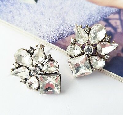 Vintage white crystal tear drop diamond art deco bridal statement stud earrings