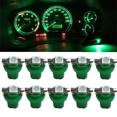 10x Green T5 1SMD B8.5D 5050 Car LED Dashboard Dash Gauge Instrument Light Bulbs