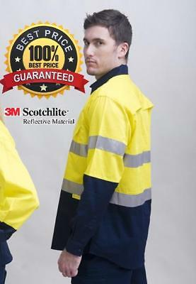 5X HiVis Light weight 3M tape Yellow/Navy 2 tone Safety Shirt underarm&back vent