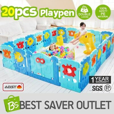 ABST 20 Sided Panel Baby Playpen Interactive Kids Toddler Baby Room Safety Gate