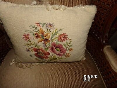 Vintage needlepoint accent pillow with tassels and burgundy velvet back-EUC