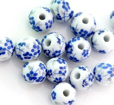 15Pcs Hand Painted Blue Flower Porcelain Beads Finding--13mm