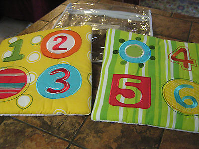 """Sumersault--Numbers--Pack of 2 wall hangings--10.5""""x10.5""""-- Fabric/padded--New"""