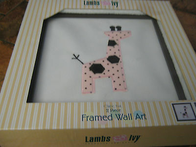 "Lambs & Ivy-Classic pink-10""x10"" framed  wall art-Elephant &Giraffe-2 pieces-New"