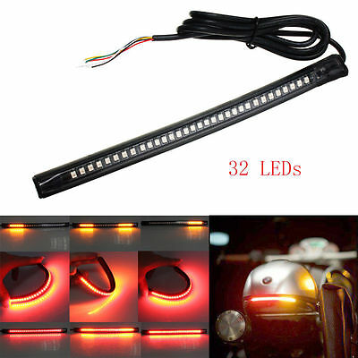 1x Bendable LED Strip Tail Light Turn Signal Brake Indicator for Motorcycle BLK