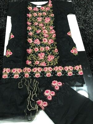 New Organza embroidered suit with Net duppata  lace trouser.large Size