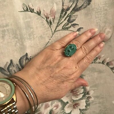 Vintage Green Flowered Abstract Design Ring- Prong Set, Sz. 6