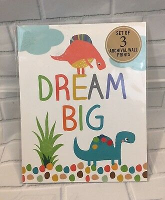 """Dream Big"" Set of 3 Dinosaur Archival Prints for 8"" X 10"" Prints NEW"