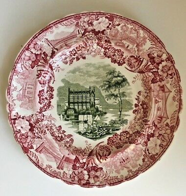 Antique Staffordshire DESSERT PLATE; Red & Green Transferware, circa 1830