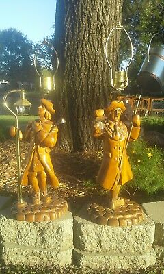 Vintage Hand Carved wood lamp Colonial Town Crier Paul Revere Figure 1940's