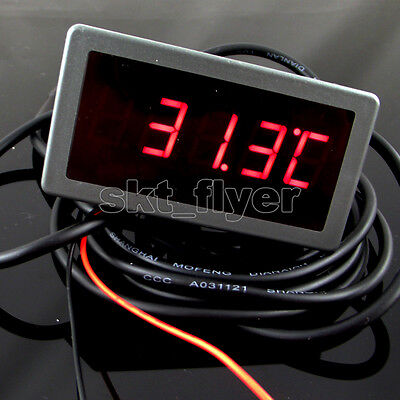 "1pcs 0.56"" F/C 12V DC Red LED Digital Car Panel Temp Meter Thermometer DS18B20"
