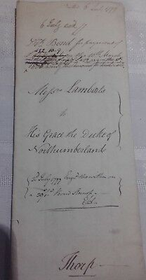 Document bond for payment from Lambert to his grace Duke of Northumberland  1799