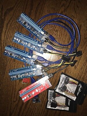 5x PCIe 1x To 16x Powered Riser / 6pin To SATA / V.006C And V.007S / Eth Zec Xmr