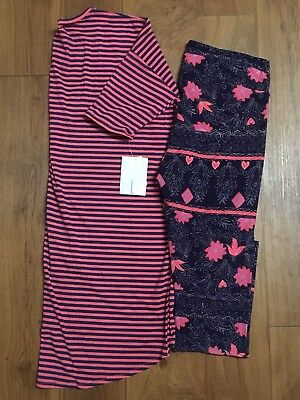 NWT LuLaRoe Large Valentine Stripe Irma and Floral Tc Outfit Navy/Coral UNICORN