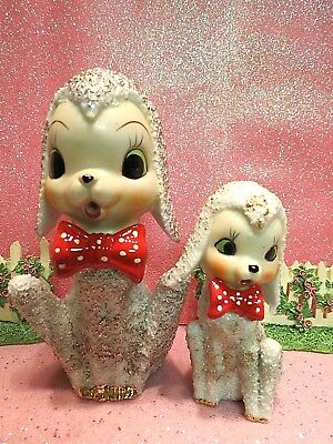 Vtg Anthropomorphic Texture Fur GOLD EMBOSSED Lambs W Red Polka Dot Bow Ties