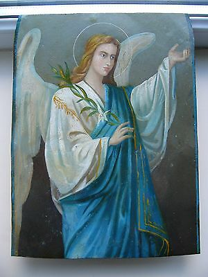 """Antique 19c Russian Orthodox Hand Painted Metall Icon """"The Archangel Gabriel"""""""