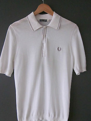 Fred Perry 4-Button Reissues Polo Shirt (38-Slim) Knitted Cotton Ecru Short Slee