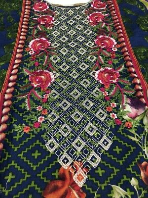 New Lawn embroidered suit with lawn duppata and trouser.large Size