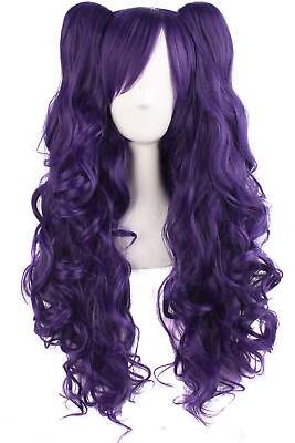 MapofBeauty Lolita Long Curly Clip on Ponytails Cosplay Wig (Purple)