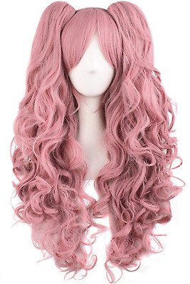 MapofBeauty Lolita Long Curly Clip on Ponytails Cosplay Wig (Rouge Pink)
