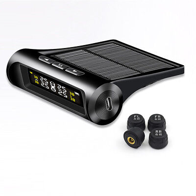 New Solar TPMS Wireless Tire Pressure LCD Monitoring System+ 4 External Sensors