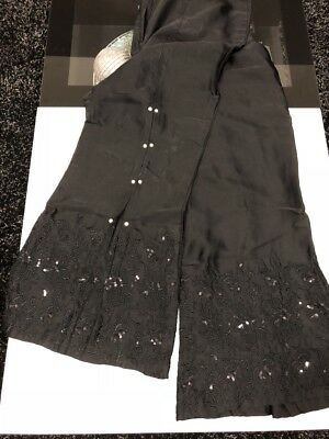 New silk Designer bell bottom trouser embroided plates  pearls - size fits most