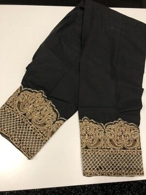 Brand new Cotton black trouser embroided lace straight pants -one size fits most