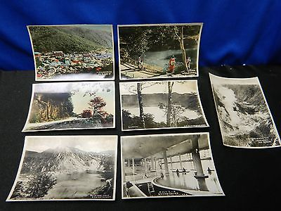 Lot of 7 WWII Era Japan Tourist Souvenir Photos Color Geisha Mountain Scenes +++