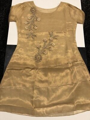 New oRGANZA embroidered Kurta/Peplum with thread stones and pearls   .Small Size