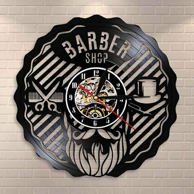 Barber Shop Wall Decor Hairdressing Salon Interior Design Vinyl Record Clock