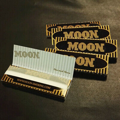 """5 booklets Moon Gold 1.0"""" Cigarette Rolling Papers 70*36mm 250 leaves"""