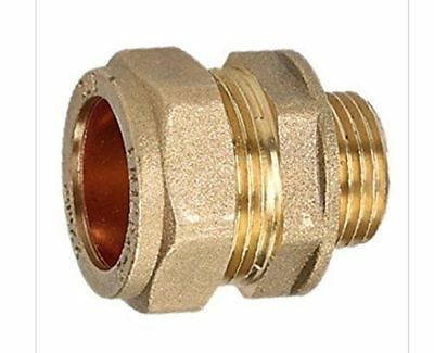 """22mm Compression x 1/2"""" Inch BSP Male Iron Adaptor / Coupler / Brass Fitting"""