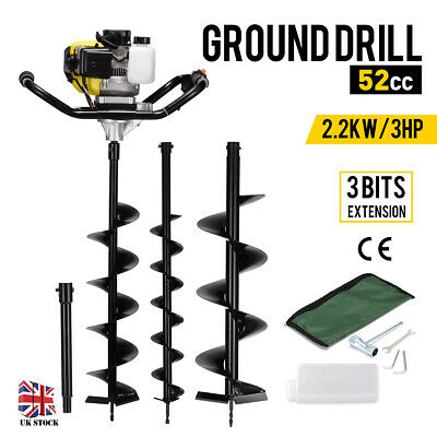 52cc Petrol Earth Auger Ground Drill Fence Post Hole Borer 3 Bits Extension UK