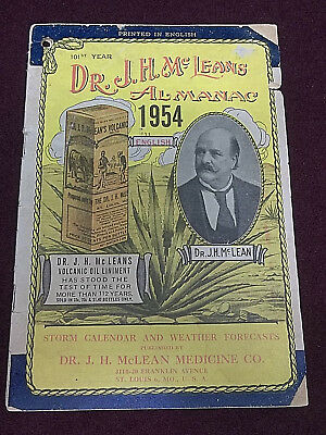 Dr. J.H. McLeans Almanac Storm Calendar and Weather Forecasts 1954 Ads Charts