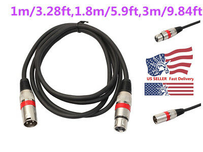 NEW XLR 3Pin Male to Female 1m/1.8m/3m Audio Cord Cable for Microphone Mixer LOT