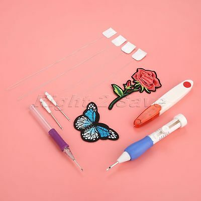 Magic Embroidery Pen Punch Needles Set Craft Tool Threaders Scissors DIY Sewing