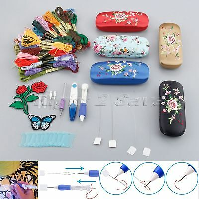 Embroidery Pen Punch Needle Set Scissors Flower Butterfly Applique Sewing Tool
