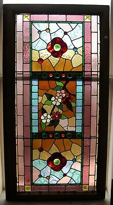 Outrageous Huge Victorian Stained Glass Window 31 x 60 Multi Color Floral Jewels