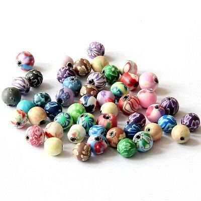 50Pcs Polymer Clay Flower Design Beads Finding For Jewelry Making