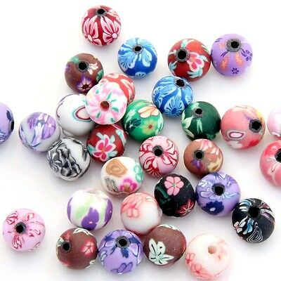 40Pcs Polymer Clay Flower Design Beads Finding For Jewelry Making