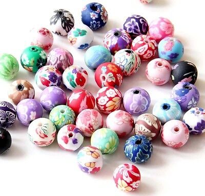 35Pcs Polymer Clay Flower Design Beads Finding For Jewelry Making
