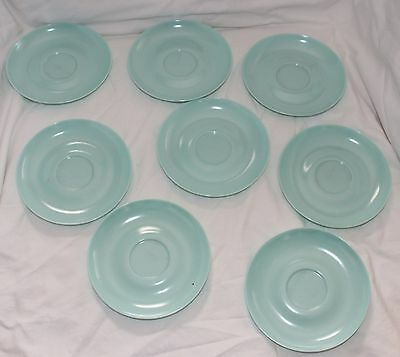 Vintage Lot Of 8 Plain Blue Harmony House Melmac Small Saucer Plates #641!