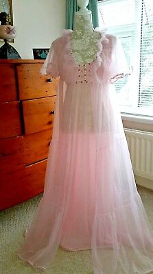 Stunning Vintage Pink Nylon Nightdress Paneled Gown Negligee Set Pippa Dee  38